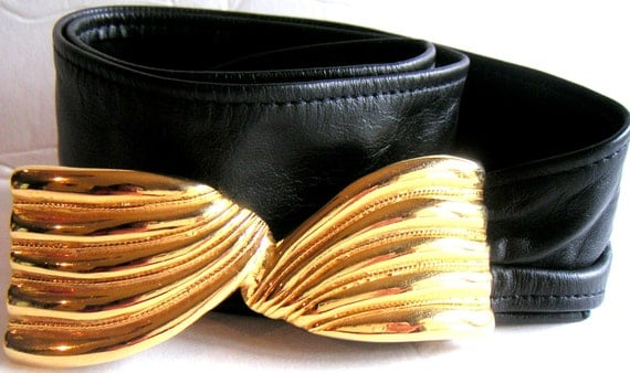 Vintage Leather Belt With Goldtone Buckle by Gay Boyer