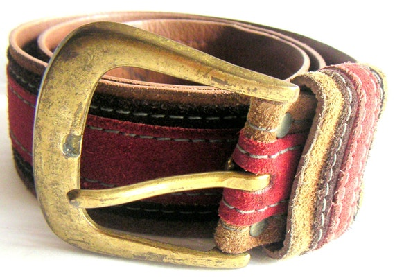 Vintage Leather Belt by Canterbury,Red,Black,Brass,Rustic and Rugged