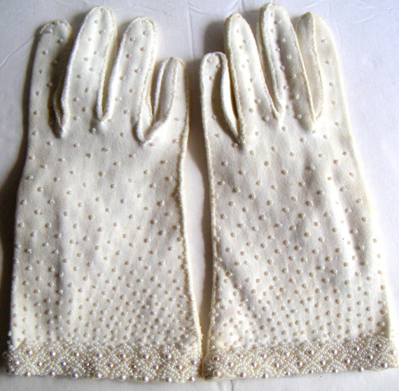 Vintage Hand Beaded Gloves, Double Woven Cotton - Wedding,Prom,Special Occasion,Dress Up. FREE Shipping (USA Only)