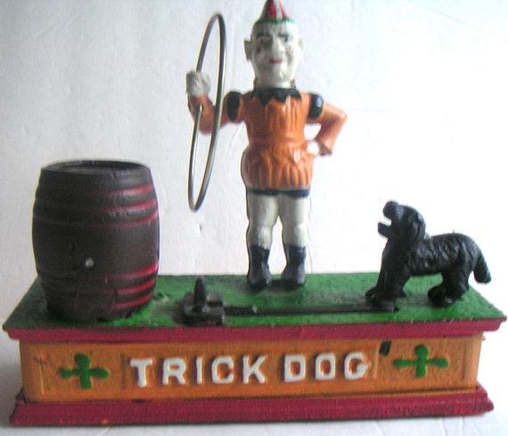 Vintage Reproduction Cast Iron Coin Bank, Trick Dog, Circus,Circus Clown,Scottie Dog,Taiwan
