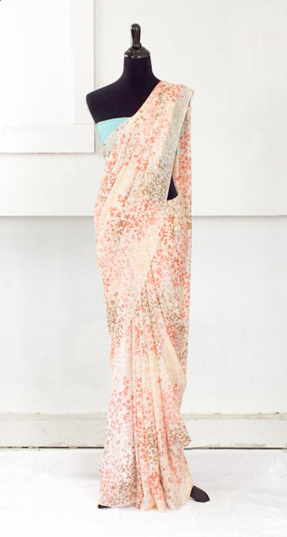 Summer & Blush Silk Chiffon Sari