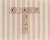 Scrabble Art, Scrabble Photography, Girl's Room Decor, Gift For Her, Pink And White, Pink Stripes, Girl Power, Baby Pink Decor, Nursery Art