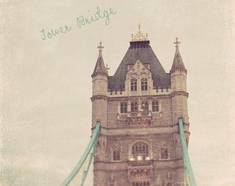London Photography, London Art, London Photo, Tower Bridge London, Tower Bridge Photo, Mint Green Decor, London Tower Bridge, Wall Art