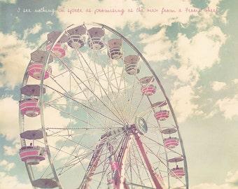 Ferris Wheel Art, Ferris Wheel Decor, Ferris Wheel Print, Pastel Photography, Custom Baby Gift, Carnival, Nursery Artwork, Baby Artwork