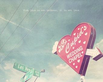Las Vegas Photo, Wedding Chapel Sign, Cupid's Chapel, Cupid Wedding Chapel, Valentine's Day Gift, Vegas Wedding Chapel, Red Heart Art