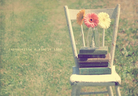 Gerbera Daisies, Vintage Chair, Green Pink Yellow, Vintage Books, Mason Jars, Gift For Reader, Flower Photography, Home Art Decor