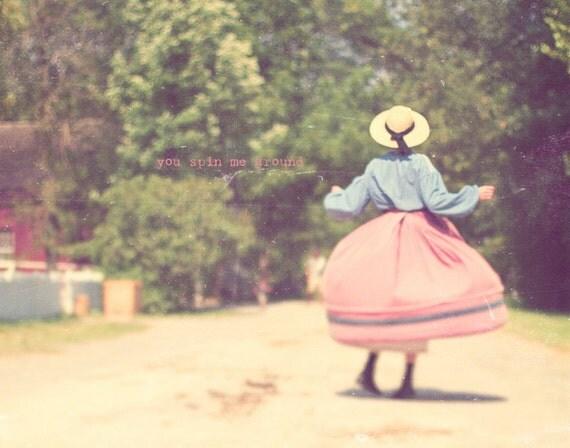 1800s Woman, Pink Poodle Skirt, Blue And Pink, Gift For Dancer, Gift For Her, Pink Decor, Blue Decor, Vintage Art, Girl's Room Decor