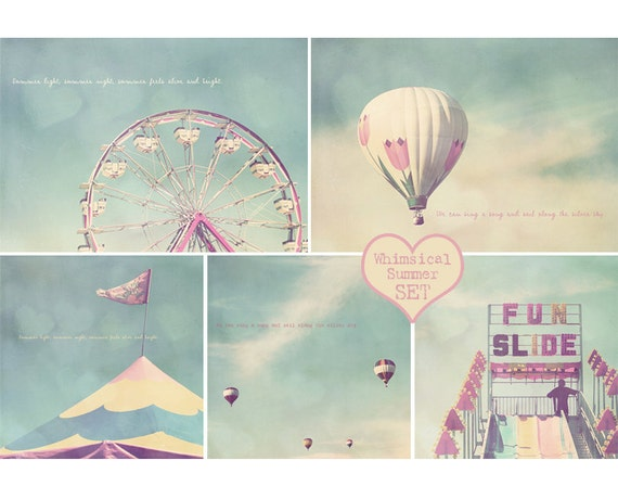 Ferris Wheel Print, Hot Air Balloon Print, Carnival Photography, Pastel Photography, Unisex Baby Gift, Baptism Gift, Birthday Gift, Sweet 16