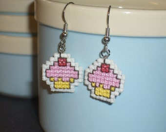Cupcake Cross Stitch Earrings