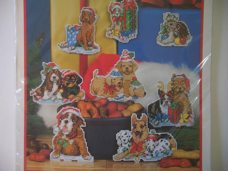 Needlepoint Christmas Dogs Ornaments Plastic Canvas Kit