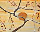 Zen art Orange Sun Large 20X 48 on Three canvases