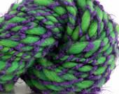 Sale Handspun bulky yarn green purple TURTLE SHELL