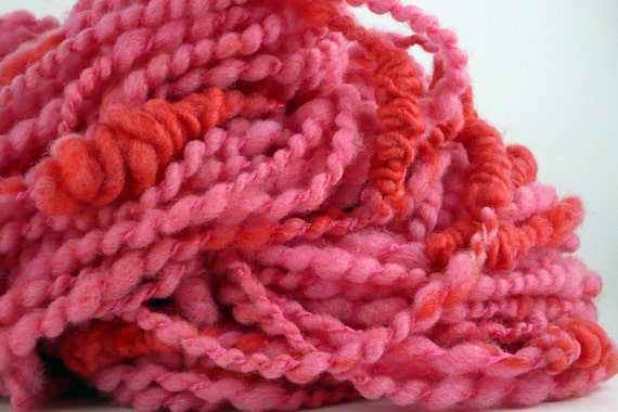 Handspun pink salmon super bulky art yarn bfl SALMON STACKS
