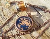 Vintage Stamp Legend Of Sleepy Hollow Resin Brass Pendant Necklace