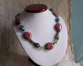 Art School Pink Paint Splatter Green Blue Turquoise Stone Beaded Necklace