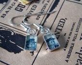 Vintage Stamp Women in the Military Silver Drop Earrings