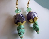 Purple Quartz Green Crystal Stone Gold Filigree Finding Drop Earrings
