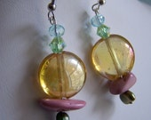 Yellow Glass Pink Stone Green Crystal and Pearl Drop Earrings