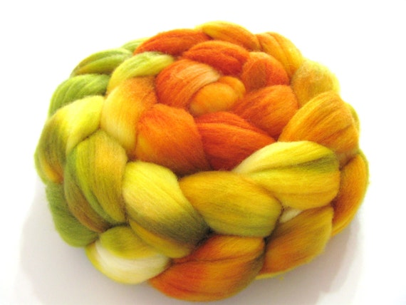 Targhee Wool Top (Roving) - Spinning / Felting Fibre - 4 oz. - The Very Hungry Caterpillar- 1