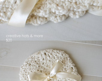 Beautiful vintage look Beanie with scalloped edges
