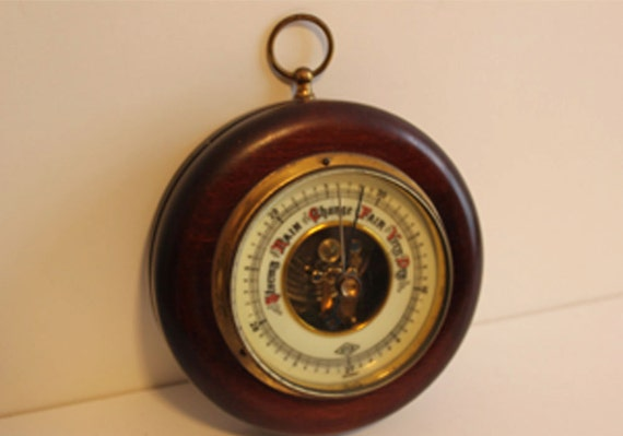 Vintage Barometer, Mahogany with Brass Trim