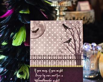 HALLOWEEN VINTAGE Invitation, Purple and Black,  As Seen on Amy Atlas Events