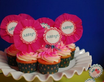 BOUNCE HOUSE Printable Party Circles- Pink and Teal cupcake toppers