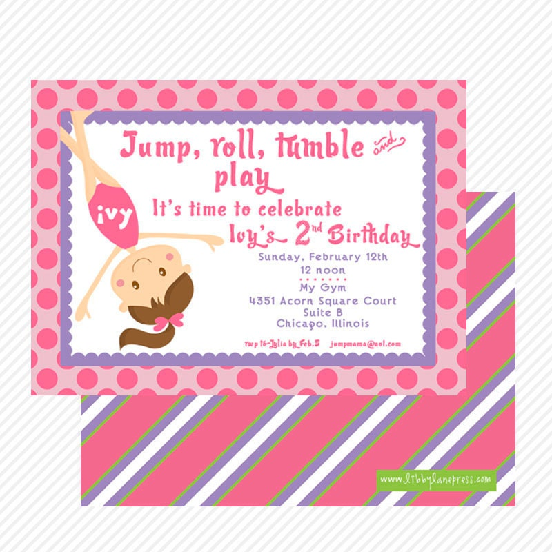 GYMNASTICS BIRTHDAY Party Invitation Pink And By
