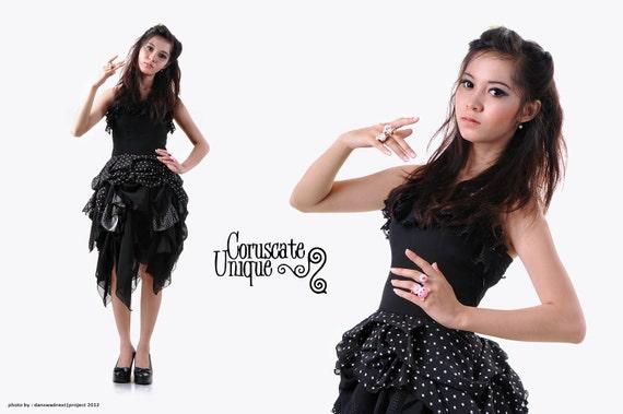 Gothic Rag Doll Victorian Strapless Dress - Lace Brocade Polkadot-Cotton Star -Chiffon