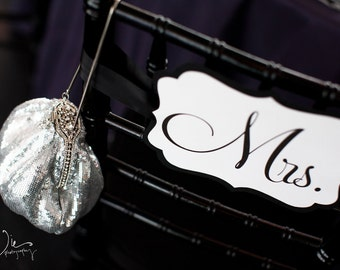 Mr. and Mrs. Sweetheart Table Chair Signs for the Bride & Groom - Available in Custom Wedding Colors