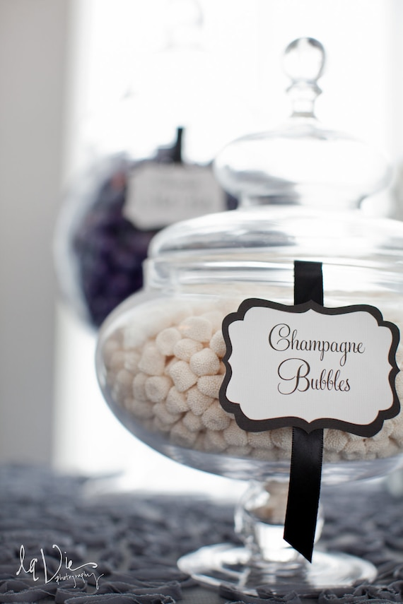 Elegant Custom Candy / Dessert Buffet Jar Signs - Set of 10