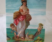 Birthday Card, Greeting Card,Sea Lady Cherub, fish, shells, snail, ocean - Victorian Die Cut Collage-