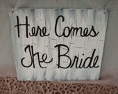 Shabby Chic Black and White Here Comes The Bride Wedding Sign