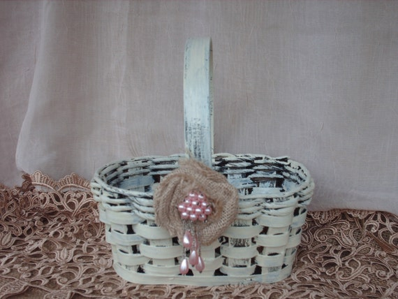 Shabby Chic Wedding Basket with Burlap Rosette
