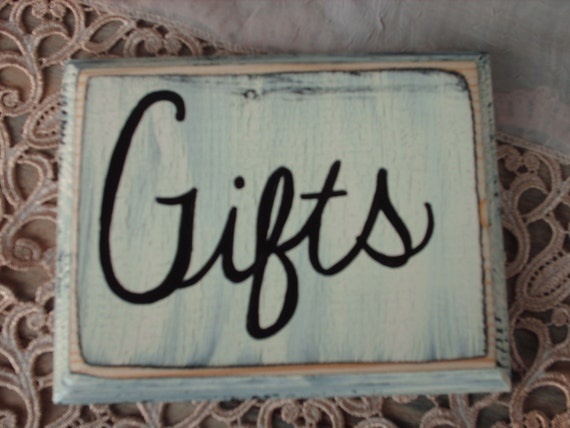 Rustic Shabby Chic Ivory and Black Gifts Wedding Sign