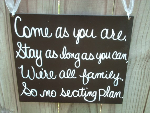 Rustic Black and White No Seating Plan Wedding Sign