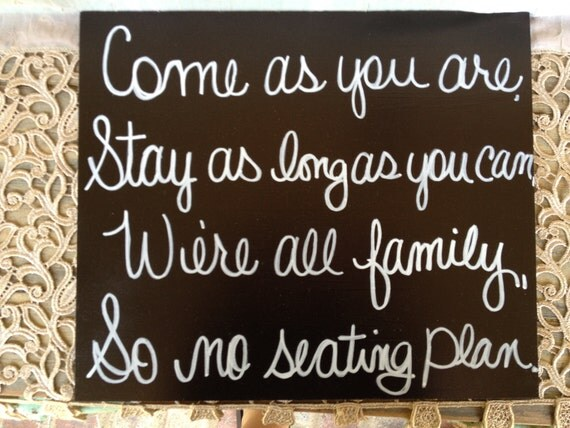 Black and White No Seating Plan Wedding Sign