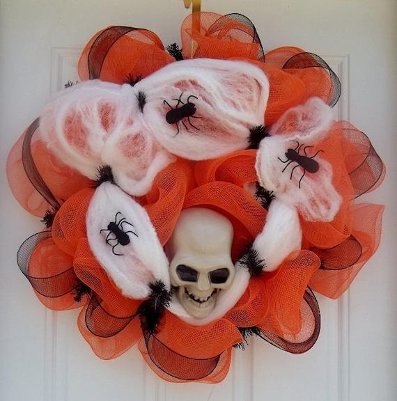 Creepy Orange Halloween Skull Head Mesh Wreath