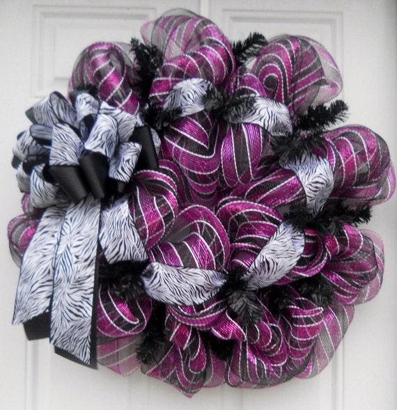 Fuchsia Black & White Striped Mesh Wreath With Zebra Ribbon