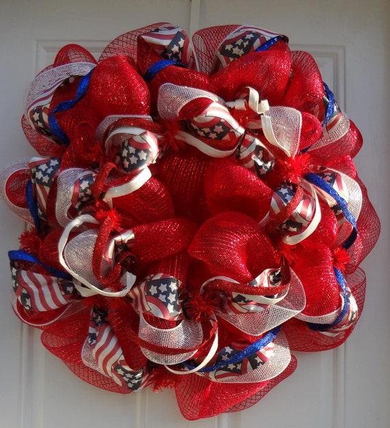 Patriotic Red Mesh Wreath With Glitter Garland