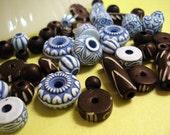 53 pcs Blue and Black Assorted Tribal Beads