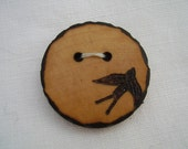 flying swallow bird - a natural wooden button, handmade and wood-burned embellishment