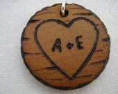 custom love tree carving with personalized initials - a natural wooden pendant, handmade wood-burned jewelry