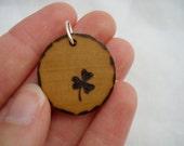 shamrock clover - a natural wooden pendant, handmade wood-burned jewelry