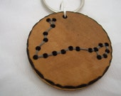reserved listing for ashumway11: pisces constellation - a natural wooden keychain, handmade wood-burned jewelry