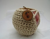 little apple-worm - natural cotton crochet apple cozy with a woodburned button