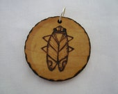 cicada - a natural wooden pendant, handmade wood-burned jewelry