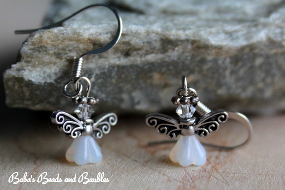 Silver and White Fairy Earrings