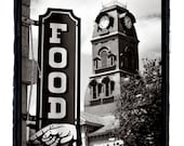 """Food Sign with Hand Americana Art print """"Eat Here"""""""