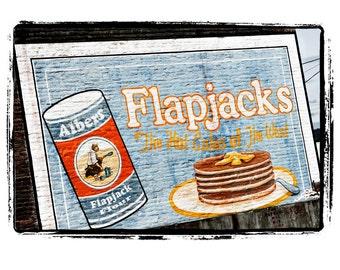 """Albers Flapjack Flour Painted Sign on Building - Americana Art Print """"Flapjacks"""""""